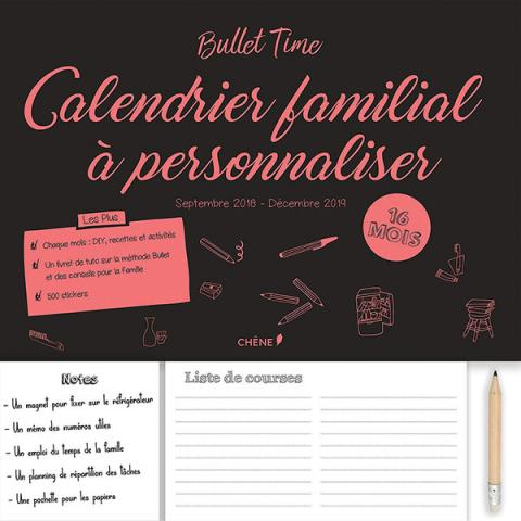 Calendrier familial à personnaliser - sept. 2018- déc. 2019 - Bullet Time